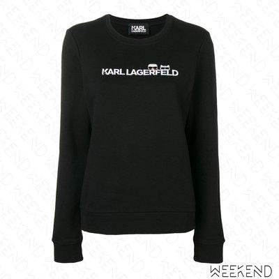 【WEEKEND】 KARL LAGERFELD K Ikonik Logo 卡爾 長袖 上衣 衛衣 黑色 19春夏