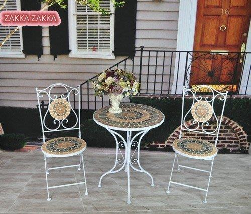 1桌2椅 白色馬賽克桌椅組 桌子椅子 歐式復古風 休閒桌椅 摺疊椅折合椅 庭園陽台咖啡店♡幸福底家♡