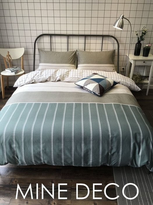 【MINE DECO】【加大雙人】北歐純棉小清新拚色條紋格子四件式床組/被套/床包/床笠/床單(現貨)M0351