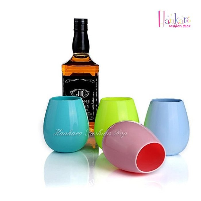 ☆[Hankaro]☆ 創意矽膠材質戶外野餐露營用酒杯水杯(素色蛋形)