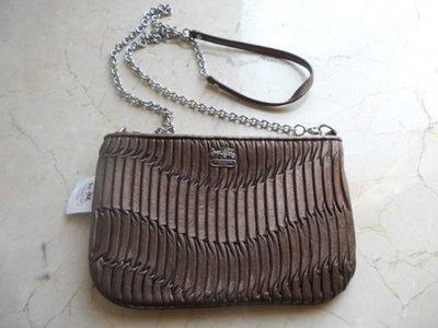 【美國精品館】COACH 48498 Madison Gathered Leather Zip Crossbody (古銅咖) 真皮皺褶金屬鍊斜背包