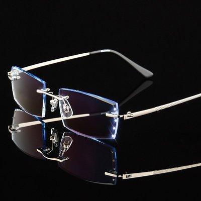 超轻无框眼镜男商务合金镜架顏色:銀色金色(只有鏡架)