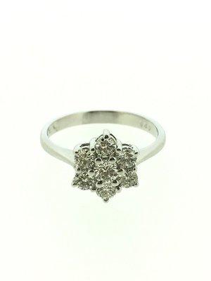 【益成當舖】流當品 寧夏夜市旁 白K時尚雪花造型鑽石女戒指