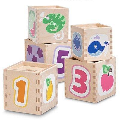 ☆╮花媽╭☆Chicco 木製3D立體方塊疊疊樂81695