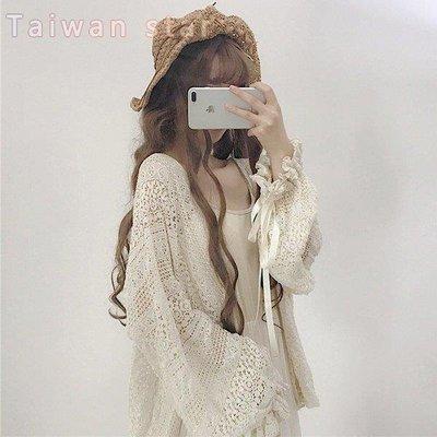 Taiwan star 復古甜美小清新蕾絲寬鬆燈籠袖長袖中長款防曬開衫外套露肩【DX649】【快速出貨】