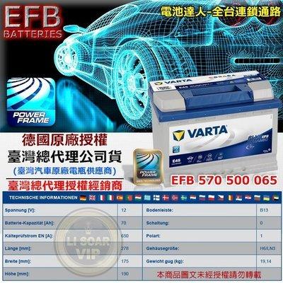 【電池達人】德國 原廠電池 VARTA E45 EFB 華達 電瓶 舊換新 特價賣場 工資另計 SUPERB 奧迪 A3