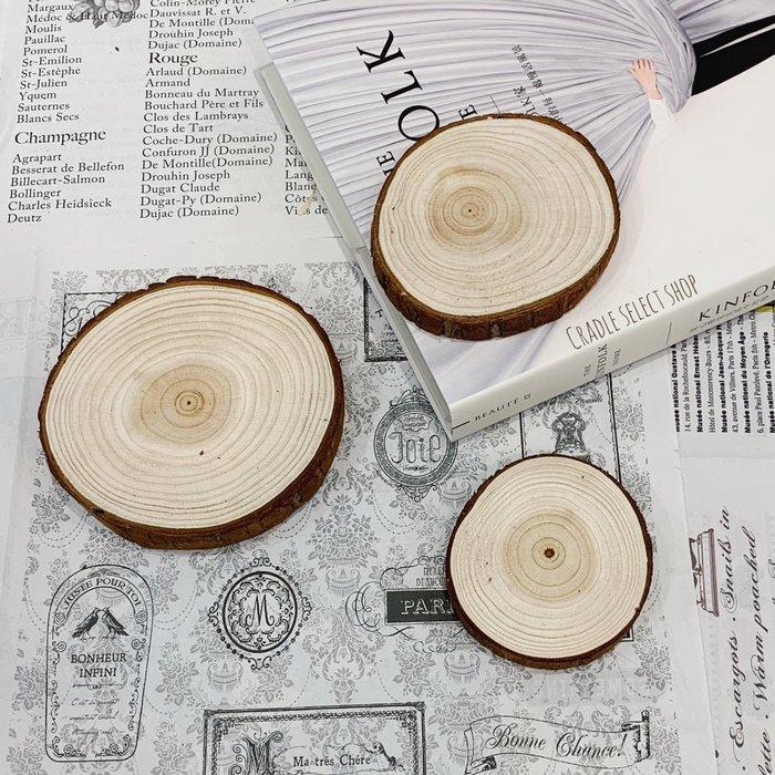 雜貨 ◎ 8-10 cm 原木片 松木 年輪 木紋 杯墊 蠟燭墊 裝飾 拍照道具