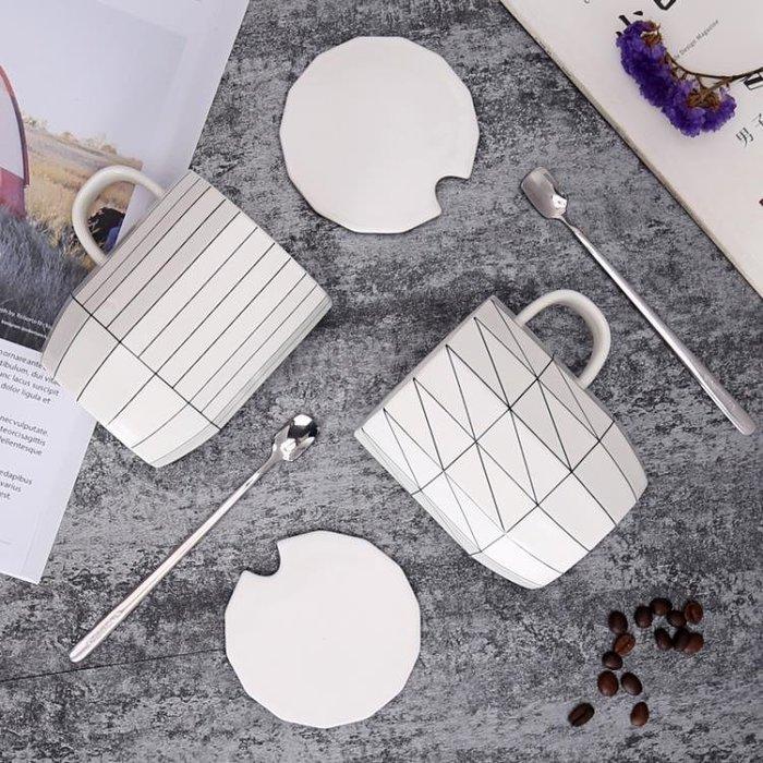 ins北歐茶杯咖啡杯馬克杯帶蓋勺杯子陶瓷簡約辦公室創意情侶水杯