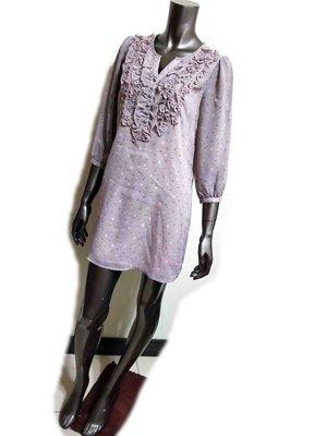 紫藕色蝴蝶結圖騰荷葉邊雪紡紗七分袖洋裝