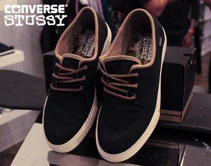 【 現貨 】全新正品 2012 聯名鞋款 Stussy x Converse Sea Star Black  黑色 帆船鞋 US 7 -11 陳冠希