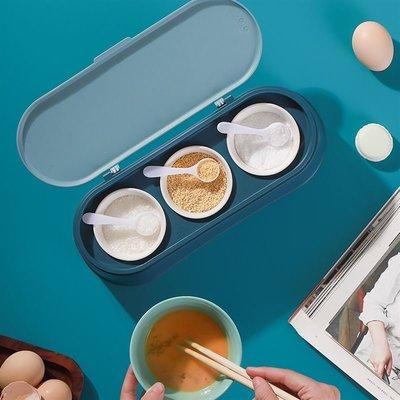 北歐風 帶蓋調料盒 調味盒組 陶瓷罐 廚房收納 三格收納 調味品 調味罐子 多功能【RS939】
