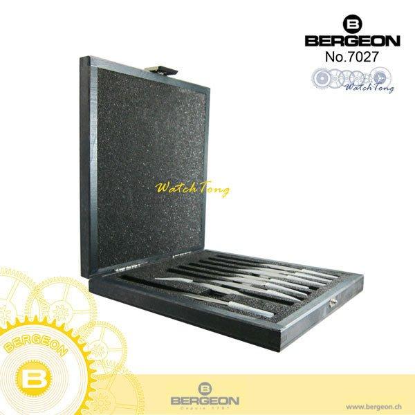 【鐘錶通】B7027《瑞士BERGEON》高硬度鑷子-木盒精裝/Inox超硬鋼質夾子(一組8支精緻木盒收藏)├鑷子夾子┤