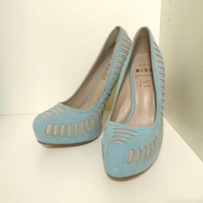 ALDO Rise Cregger蒂芬妮綠高跟鞋 38號 全真皮麂皮 細跟防水台 23.5~24cm