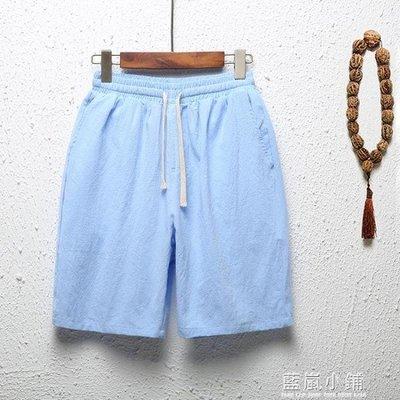 夏季薄款休閒男士亞麻短褲純棉沙灘褲加肥加大五分褲棉麻中年褲衩