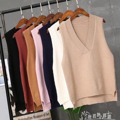 馬甲女冬短款韓版學生學院風秋裝女針織V領上衣背心馬甲