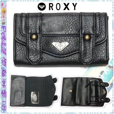 ☆POLLY媽☆歐美ROXY HOT SHOT黑色皮質三折長夾17.5×10×2cm~2款