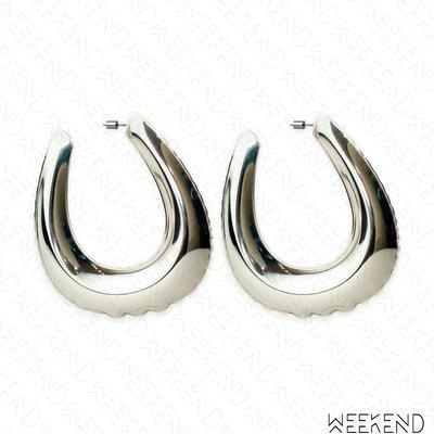 【WEEKEND】 AREA Inflated Belt Buckle 大尺寸 扣環造型 耳環 銀色