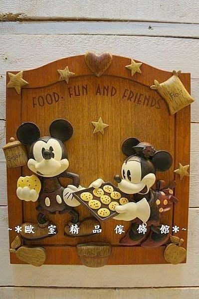 ~*歐室精品傢飾館*~正版迪士尼系列~米奇米妮仿木雕質感掛飾~烤餅乾~新款上市~