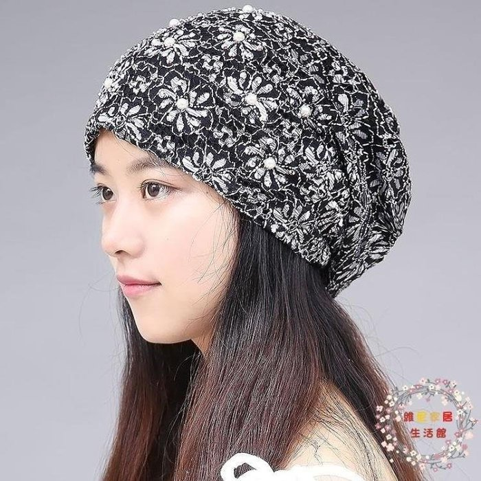YEAHSHOP 交換禮物春季新蕾絲頭巾帽 薄Y185
