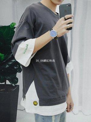 DS_08網紅時尚夏裝2019新款正韓潮流嘻哈短袖T恤男百搭寬松假兩件半袖男士潮牌