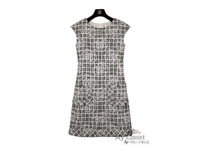 My Closet 二手名牌 CHANEL 2014~2015 經典黑白格紋 山茶花圖案 雙口袋軟呢洋裝