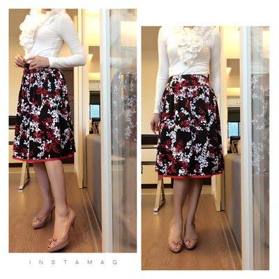 *Beauty*FIVE PENCE黑色紅花緞帶滾邊及膝裙 PH