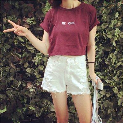 女裝夏裝高腰闊腿熱褲寬松顯瘦破洞牛仔短褲