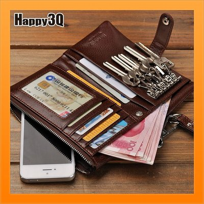 零錢包鑰匙包皮夾短夾真皮多功能包出門一包搞定大容量手機包-黑/棕/咖【AAA4122】