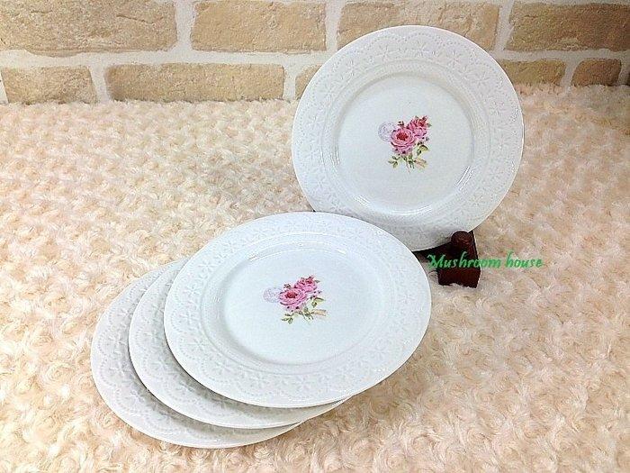 點點蘑菇屋 義大利Easy Life粉紅玫瑰立體蕾絲點心盤(四個一組) 陶瓷盤子 水果盤 糖果盤 禮盒裝 現貨