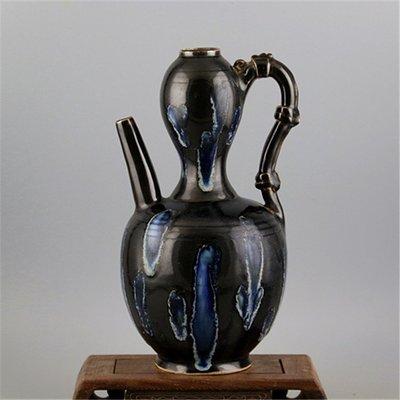 ㊣姥姥的寶藏㊣ 宋定窯手工瓷黑定點彩葫蘆壺