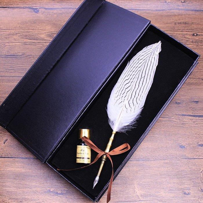 解憂zakka~ 歐式復古套裝 竹節桿羽毛筆銀雞筆 蘸水筆套裝 創意禮品#禮物#筆