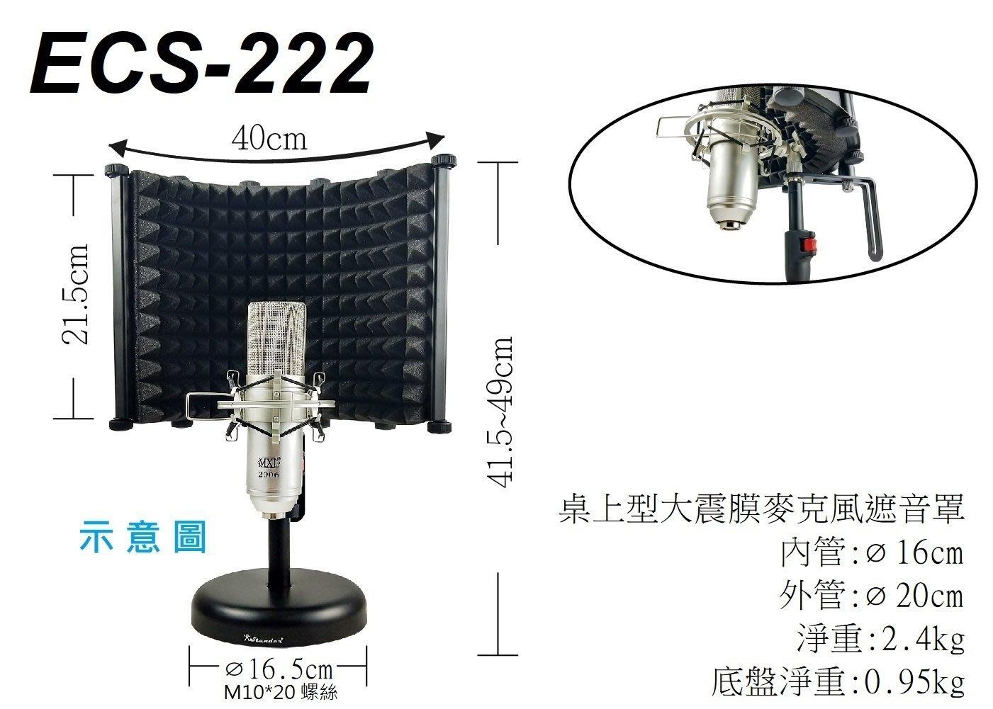 【六絃樂器】全新 ECS-222 桌上型大振膜麥克風遮音罩 / 防串音 防反射 工作站錄音室