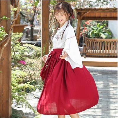 ZIHOPE 漢元素服漢服女學生班服古裝中國風日常改良表演服裝寄明月漢元素長短裙ZI812