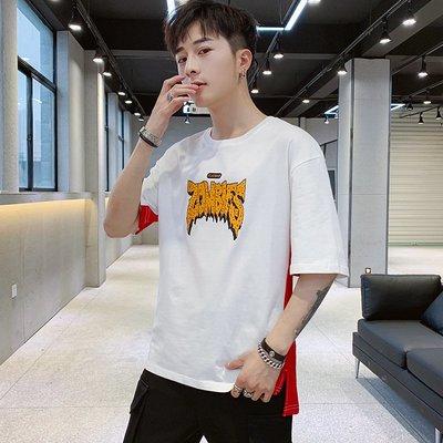 時尚男裝2019 男士休閑寬松純棉印花T恤 夏季韓版時尚短袖T恤