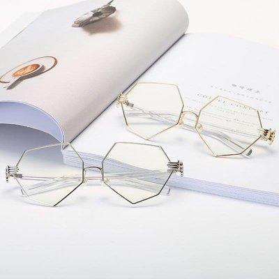 哆啦本鋪 鏡架八角多邊型潮流眼鏡眼鏡配珍珠鼻托設計 D655