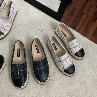 EmmaShop艾購物-正韓復古小香風黑白撞色格紋福樂鞋/漁夫鞋/休閒鞋