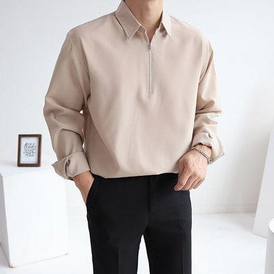 正韓男裝 拉鏈開襟素面襯衫 / 3色 / HNT6381 KOREALINE 搖滾星球