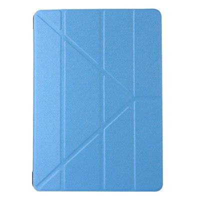 【GooMea】4免運Apple蘋果 iPad Air 1代 2代 蠶絲紋Y型 淺藍 皮套保護套保護殼手機套手機殼