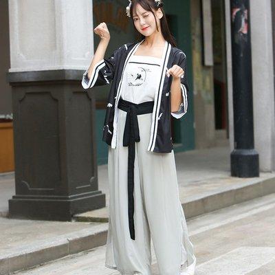 3513改良漢服中國風女裝仙鶴印花外套+吊帶+宋褲漢元素三件套-zx08