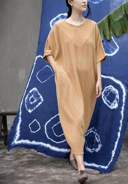 ~棉麻專賣店~原創設計初夏上新棉麻V型拼無束無憂接領口袍子寬松連衣裙