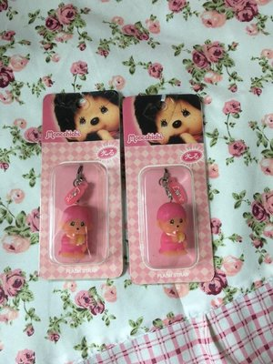 全新 絕版 粉紅色 可愛 Monchhichi 手機 手提電話繩 公仔 吊飾 手袋吊飾 有盒