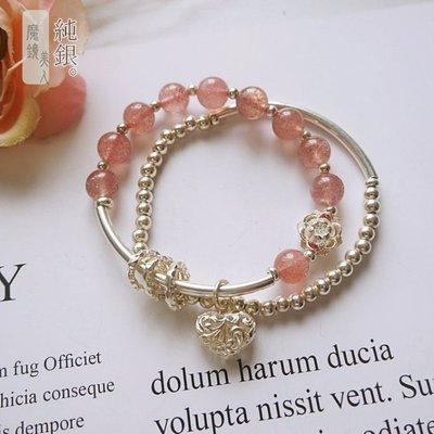 招桃花【草莓晶◎純銀手鍊】925純銀 草莓晶 雙圈 手工限量款 附禮盒