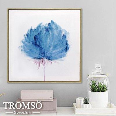 TROMSO-時尚風華抽象有框畫方形50x50-墨染香洋花w928/藍色暈染水墨畫廊藝術 大樹小屋【H0313028】