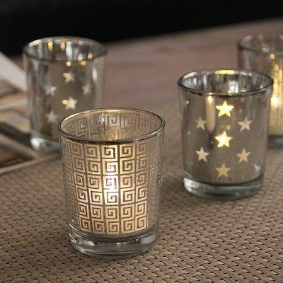 熱銷#現代簡約銀色電鍍玻璃小燭臺DIY香薫蠟燭杯浪漫家居裝飾擺設送蠟#燭臺#裝飾