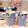 英式陶瓷藍白玫瑰條紋馬克杯 對杯咖啡杯奶茶...
