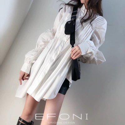 PapaDarling 20SS 設計師品牌泡泡袖收腰不規則設計感連身裙 襯裙