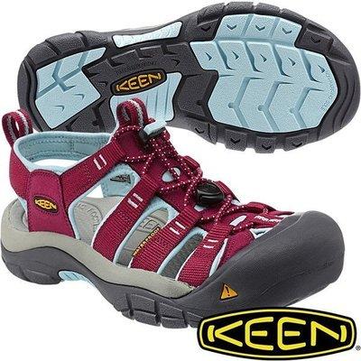 =CodE= KEEN NEWPORT SANDALS 編織彈性綁繩護趾防水包頭涼鞋(酒紅藍灰)1012867.拖鞋.女