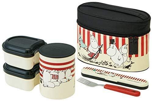 ~FUJIJO~日本存貨款~日本專賣限定【Moomin 嚕嚕米】雙層保溫便當組+袋組 保溫便當盒 B款