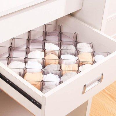 抽屜隔板蜂巢式收納格抽屜分隔板襪子收納盒自由組合整理格子 YTL