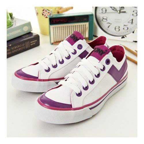 利卡夢鞋園–PONY經典帆布鞋--Shooter--白紫桃紅--923U1U10SW--女--US 3(22) 號